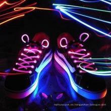 Lazo del cordón del zapato de la fibra óptica LED que destella para la danza del partido
