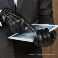 Luva de couro do toque do smartphone da pele de carneiro dos homens do vestido da forma em toda a palma