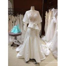 Eine Linie lange Hülse Backless Halter Hochzeitskleid