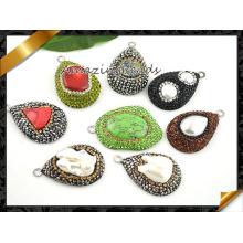 Art- und Weisestein-Halsketten-Anhänger, Edelstein-Stein bördelt Schmucksache-hängenden Großverkauf (EF094)