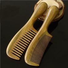Pettine per capelli di legno di sandalo verde naturale con manico rotondo