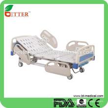 Cama de hospital manual de 3 funciones con el carril de los carriles laterales de los PP para la cama de hospital