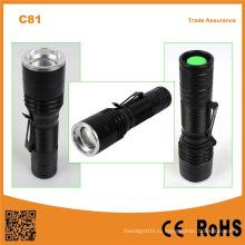 C81 Портативный мини светодиодный фонарик факела зум с зажимом для пера