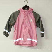 Chaqueta reflectante lluvia rosa sólido PU para niños / bebé