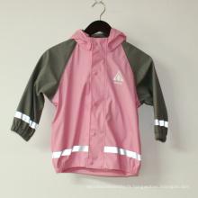 Veste de pluie réfléchissante PU rose solide pour les enfants / bébé