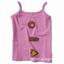 Ladies' Tank Top, Fashionable, Made of Cotton + Lycra, Eco-friendly Dyeing and Printing Material