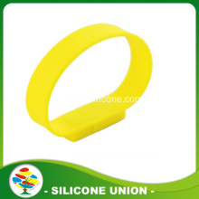 Yellow Custom Silicone 16GB USB Bracelet