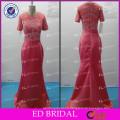 ED Bridal Elegant Crystal Beaded Satin Short Sleeve Zipper Evening Dress 2017