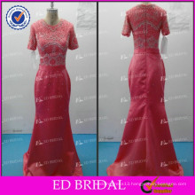 ED Bridal Elegant Crystal Beaded Satin Short Sleeve Zipper Evening Dress 2017