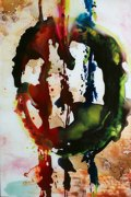 Abstract Oil Painting on Glass for Hotel Decoration
