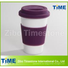 Taza de viaje de cerámica con tapa de silicio y manga (TM2013-GB)