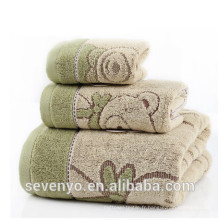 Serviette de bain spécial motif marron clair de couleur marron TS-014