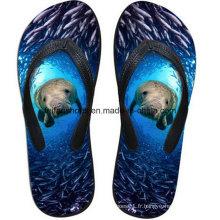 Les plus populaires 3D Impression Casual Flip Flop Slipper Chaussures (FF68-14)