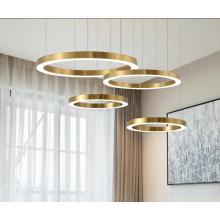 Modern hotel room round rings gold brass hanging luxury led pendant light chandelier