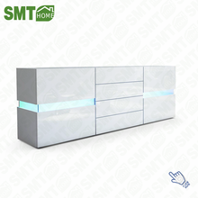 Modern White High Gloss Chest of Drawers Cupboard with LED