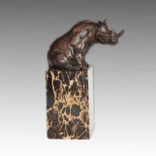 Animal Bronze Sculpture Rhinoceros Carving Brass Statue Tpal-279