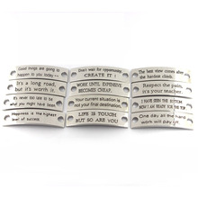 Gravierte Schmuck Tags Custom Stamped Inspirational Sayings Metall Charms für Leder Armband