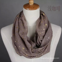 Women Fashion Gold Stamping Cotton Voile Infinity Scarf (YKY1089-3)