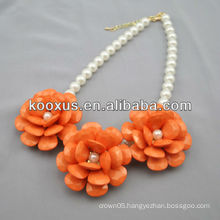 Flower charm statement necklace with pearl chain