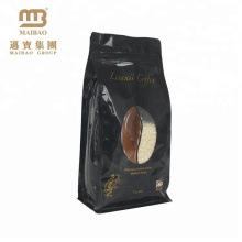 Custom Made Black Resealable Zipper Coffee Packaging Bag With One Way Valve And Window