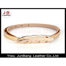 Leaf Shape Plate Clasp Buckle PU Leather Belt for Ladies Dress