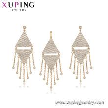 64444 moda atacado China luxo tipo triângulo diamante branco banhado a ouro borla conjunto de jóias