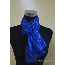 Moda feminina lenço de lantejoulas metálicas
