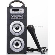 mini bluetooth karaoke wooden speaker with MIC slots FM USB TF/SD LED screen