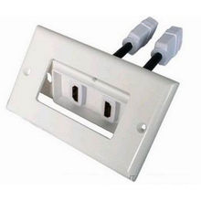 Gold Plated Hdmi Wall Plate , 1080p Resolution Hdmi Female Finsert Angled