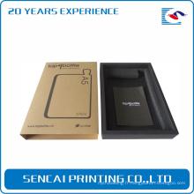 Boîte-cadeau noire de Kraft de Brown transparent dur d'emballage adapté aux besoins du client pour le cas de téléphone