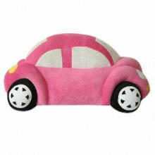 Stuffed Soft Plush Toy in Car Shape, Made of PP Cotton, Customized Designs and Logos are Accepted