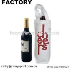 Saco de compras de lona de algodão saco não tecido / garrafa de vinho saco