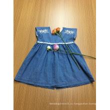 синяя джинсовая вышивка кружева повседневная одежда для девочек