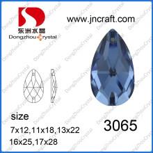 Piedra de vidrio en forma de lágrima para coser la decoración de la prenda