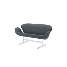Jacobsen Aluminum Frame Fabric Swan Loveseat Sofa
