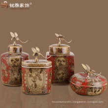 traditional crafts Chinese ancient handmade ceramic vase with dragonfly handle