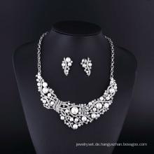 2015 CZ Strass Große Perle Zink-legierung Halskette Set