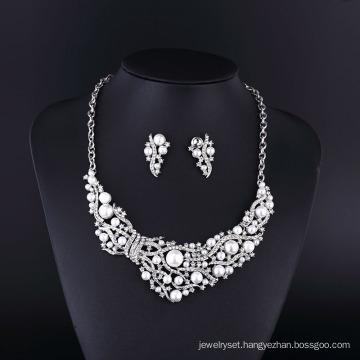2015 CZ Rhinestone Big Pearl Zinc Alloy Necklace Set