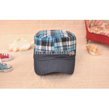 wholesale denim material checked prinit stylish Military cap/ hat