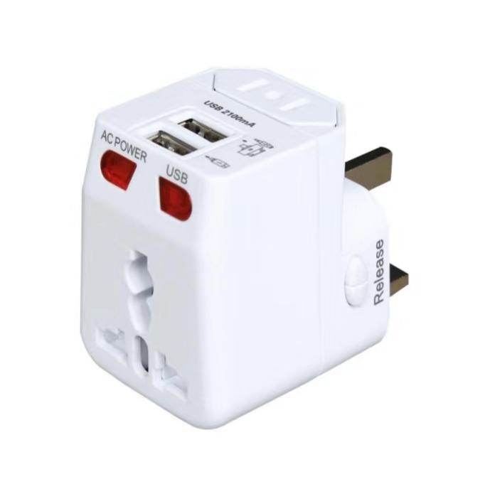2 USB Universal Travel Power Adaptor