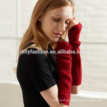 Senhoras Inverno Moda OEM Longo Cor sólida Cashmere Rib Knit Fingerless Luva