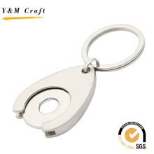 Corrente chave feita sob encomenda da moeda da compra do trole da porta-chaves do metal da lembrança