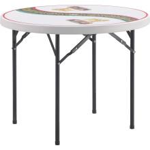 Открытый 3-футовый пластиковый складной круглый стол для пивного кофе со сложенными ногами Сделано в Китае