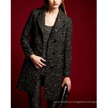 17PKCSC024 mulheres dupla camada 100% casaco de lã de caxemira