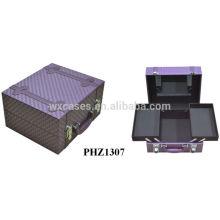 alta calidad púrpura PVC belleza maletín con un espejo y bandeja interior