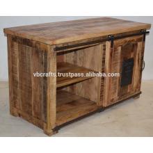 Mueble de tv industrial mango accesorio de hierro fundido de madera