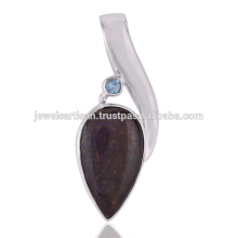 New Design Ammolite And Swiss Blue Topaz Gemstone 925 Solid Silver Pendant