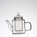 Hand-blown clear high borosilicate small glass teapot with infuser