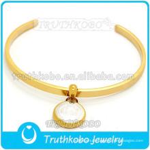 Stainless Steel Gold St. Benedict Holy Medal Bracelet C shape Christ Jesus Blessing Stainless Steel Bangle for Women