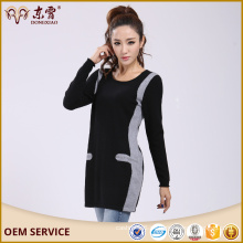 Asegurar el comercio de las mujeres de gran tamaño de cachemira vestido largo suéter